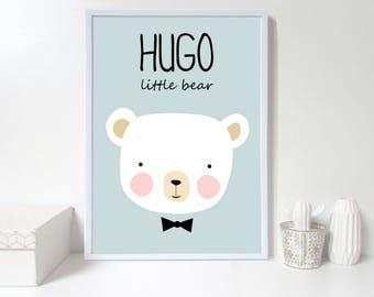 Custom baby nursery wall art,bear nursery print,Personalised wall print,custom name, blue Nursery art prints , baby nursery decor, Kids Room