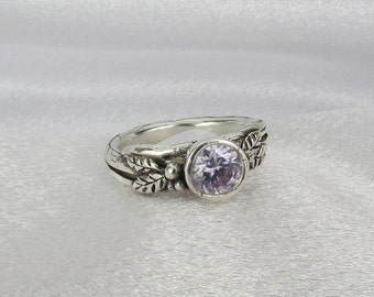 Item 171- Handcrafted, sculpted, carved  999 Fine and 925 Sterling Silver Ring with Beautiful Round Lavendar Cubic Zirconia