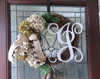 Fall Wreath-Fall Wreaths for Front Door-Hydrangea Monogram Wreath-Hydrangea Wreath-Front Door Wreaths-Year Round Wreath-Initial Wreath
