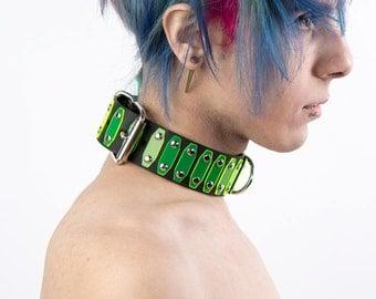 Futuristic Renegade Choker (Neon Green/red, White, Silver, Red, Yellow) - Cyber/UV/Neon/Fluorescent/Mad Max
