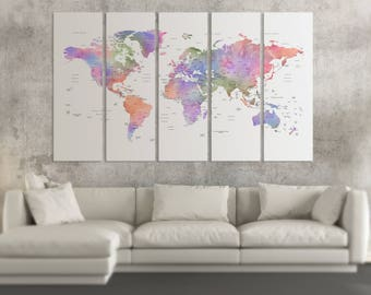 Watercolor world map canvas Violet world map on canvas Detailed map push pin world map print watercolor world map wall art pin travel map