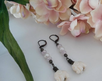 Soft Pink Elephant Dangle Earrings with Freshwater Pearls