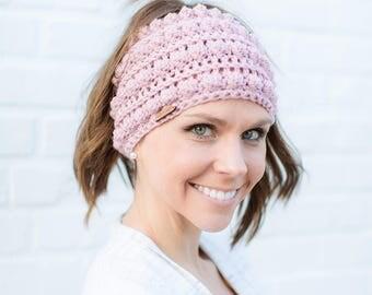 Messy Bun Beanie, Millennial Pink Messy Bun Beanie, Messy Bun Hat, Ponytail Beanie, Crochet Ponytail Beanie, Bun Beanie, Rosy Kate
