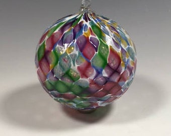 Hand Blown Glass Ornament:  Rainbow Blend and White Faceted Sphere