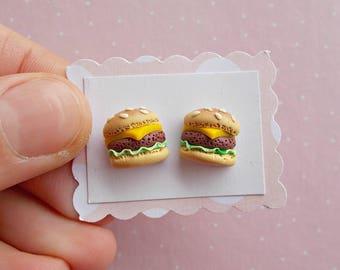 Burger Earrings - Cheeseburger Studs Earrings - Hamburger Earrings - Fast Food Earrings - Teenager Earrings - Burger Lover Gift