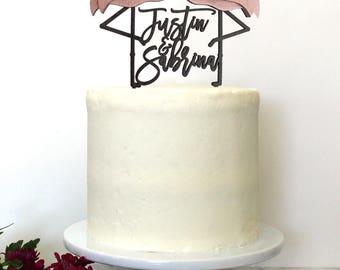 Personalized Flamingo Beach Wedding Cake Topper | Custom Names