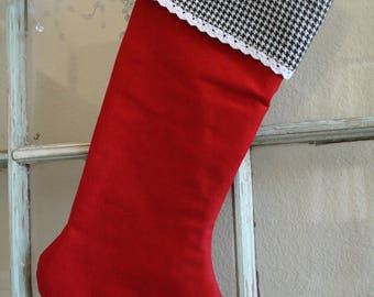Red Linen Stocking--Houndstooth Cuff Lace Trim #28