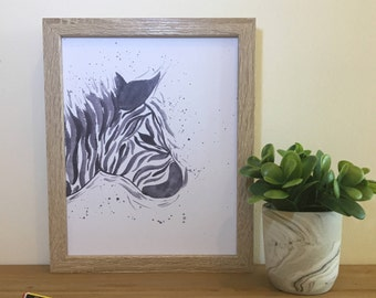 Zebra Print, Watercolour Zebra Painting, gift ideas, FREE UK delivery,