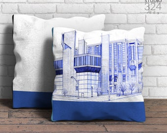 Robarts Library Square Pillow | Blue Prints