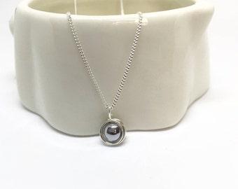 Hematite necklace, 925 sterling silver hematite pendant, silver hematite necklace, silver hematite jewellery, sterling silver pendant
