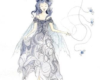 Chloe the Cobweb fairy - original wateroclour fairy painting