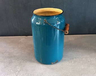 Vintage Teal Enamel Pail with Wooden Handle