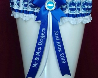 Brighton & Hove Albion Personalised Wedding Garter with Lucky Sixpence