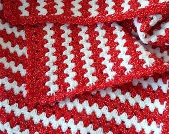 Crochet Valentine Blanket, Red and White Crochet Throw, Red and White Crochet Blanket, Crochet Lapghan, Crochet Wheelchair Blanket