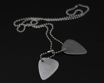 Brushed Stainless Steel Matte Silver Twin Guitar Pick Dog Tags with Matching Ball Chain Necklace
