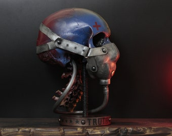 The Truth Bomber - Full Scale Life Size Realistic Faux Human Fighter Pilot Skull Bust With Display Stand / Art / Statue / Ornament / Decor