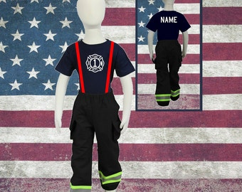 Cute Toddler Firefighter Birthday Outfit BLACK Pants