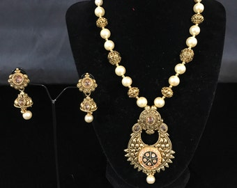 Temple Jewelry - Indian Mala Temple Set - Pendent Set - Indian Jewelry - Pakistani Jewelry - Indian Bridal - Indian Wedding - Kundan Jewelry