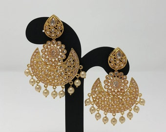 Indian Earrings - Indian Jewelry - Indian Bridal Jewelry - Kundan Earrings - Kundan Jewelry - Bollywood Earrings - Bollywood Jewelry -