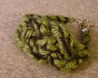 Green and grey woven bracelet