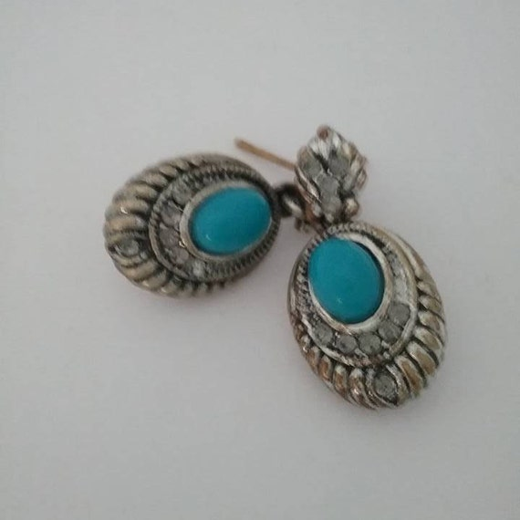 Vintage Turquoise Drop Earrings, Vintage Pierced Turquoise Drop Earrings, Navajo Style Turquoise Drop Earrings, #TurquoiseandRhinestone