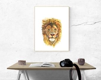 Printable, Instant Digital Download Art - Watercolour Lion, Wall Art, Home Decor