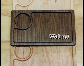 Walnut, Cherry, Ash or Maple Wood Rolling Tray, Valet Tray, Desk Organizer, Wood Catchall, Nightstand Organizer, Jewelry Catchall