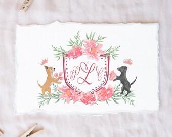 Custom Watercolor Crest, Heraldry, Monogram, Wedding Crest