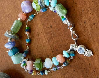 Chunky Gemstone Bracelet ~Double Strand Gemstone Bracelets~ OOAK Handmade Jewelry~ Gift Ideas
