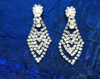 Vintage Rhinestone Earrings Clip-Ons