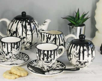 Skull tea set, Gothic ceramic teaset, Goth cup saucer, milk jug, skulls teapot, tea coffee, afternoon tea, weird and wonderful, Sugar pot