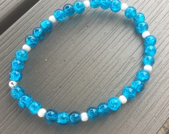 Blue Glass and Sterling Silver Stretch Bracelet,Blue Glass Bracelet, Blue and Silver Bracelet, Stretch Bracelet, Bright Blue Beaded Bracelet