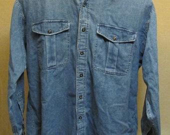 Vintage 1990's Structure Blue Medium Blue Denim Button Front Long Sleeve Shirt Size L