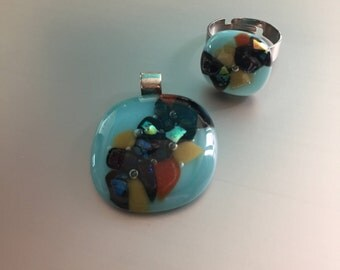 Jewelryset-Glass pendant-ring-glasfusion-Gift woman-gift for-necklace-Kette-pendant-dichroic Glass-Schmuck Frau-Italian Baoliglas Turquoise
