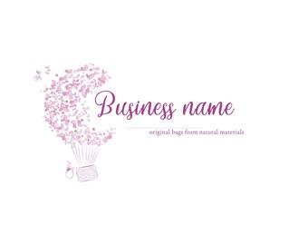 Custom logo design bag Ready logo Bag logo Pink Logo pouch Pink and purple Cute logo Girly logo Fashion logo accessory Hand drawn flowers