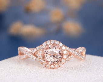 Morganite Engagement Ring Rose Gold Antique Retro Infinity Wedding Ring Halo Women Anniversary Bridal Split Shank Diamond Half Eternity Ring