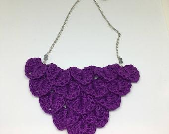 Crochet Necklace, Crochet Bib Necklace