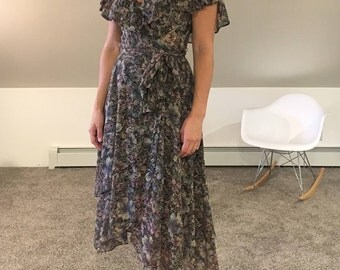 90s Floral Wrap Dress with Flutter Sleeve