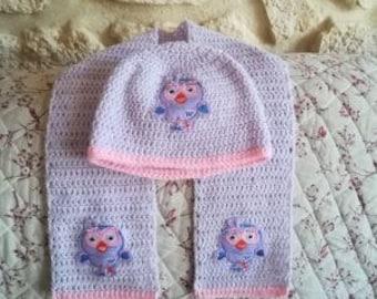 baby OWL motif Hat scarf set