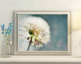 Dandelion print, Teal home decor, Nursery wall decor, Dandelion art, Nursery wall art, Printable art, Commercial use, Blue print online