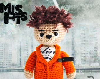Misfits, Knitted bear Nathan Young toy bear Knitted teddy bear Toy bear Crochet bear Knitted teddy Knitted Toy Misfits serial