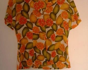 Silk Citrus Short Sleeve Top Size Small