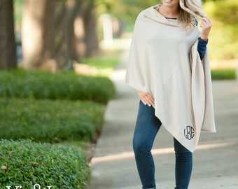 Monogrammed Poncho - Personalized Poncho - Custom Sweater
