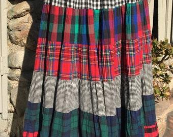 90's Grunge Plaid Flannel Maxi Skirt