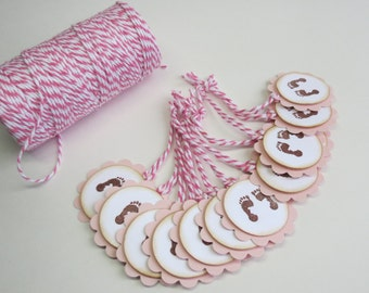 Baby shower tags, baby shower favor tags, 12 tags set