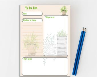 Printable To do list, Instant Download, Scrapbooking, Daily organiser, Botanical, daily schedule, Printable planner, Digital Download,