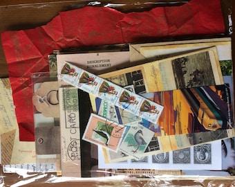 41 Pieces Vintage Travel Ephemera pack Stamps Postcard Stickers Scrap Tags journaling