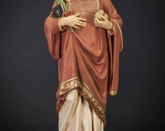 "St Stephen Statue   Saint Stefan Figure   Vintage Polychromed Plaster Figurine   18"" Large"
