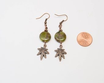 Cannabis Jewelry, Pot Jewelry, Pressed Jade, Pot Plant, Pot Leaf, Cannabis, Copper Earrings, Jade Earrings, 12mm coin, Reefer, Spliff, Weed