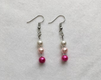 Silver plated drop earrings pink